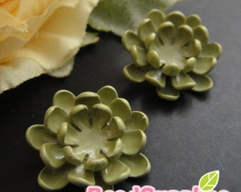 CH-ME-01774- Mint enameled, Layered Peony (hole at the back), 2 pcs