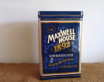 Antique advertising tin box, collectible Maxwell House Coffee bar decor, vintage kitchen storage