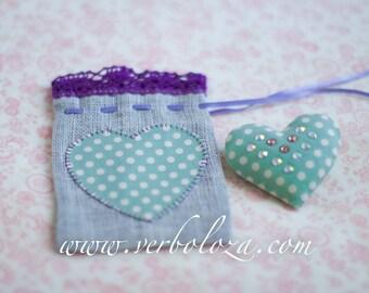 Cotton Heart Brooch and Gift Linen Favor Bag Set/Valentine's Gift Idea