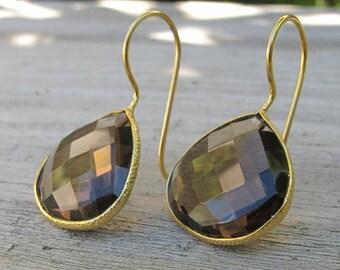 Smoky Quartz Earrings- Gold Quartz Earrings- Gold Topaz Earrings- Brown Stone Earrings- Stone Earrings- Gold Earrings- Earrings