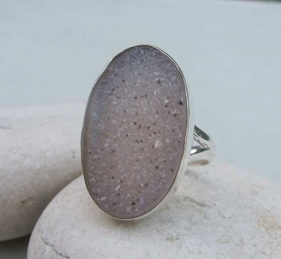 Drusy Quartz Engagement Ring