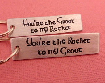 Personalizd CUSTOM Set of 2 Hand Stamped Keychains in Aluminum or Copper