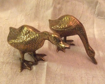 "Vintage Brass Pair of Ducks, 5"" Tall and 4"" Tall"