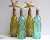 Beach Wedding Decor - Set of 4 Fishing Net Bottles- Twine / Jute Wrapped - Aqua and Green - Vases