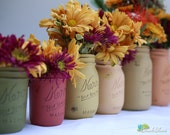Thanksgiving Centerpiece - Home Decor - Painted Mason Jars - Vase - Fall Colors