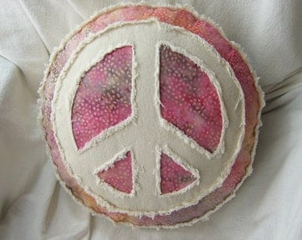 Peace sign pillow boho style on multi color batik with magenta, yellow gold, taupe, and distressed natural denim round accent pillow