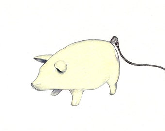 """Pot Bellied Pig art print of a drawing available 5x7"""" or 8x10"""""""