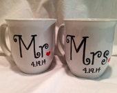 Wedding Gift, Mr and Mrs Hand Painted Wedding Coffee Mug Set with Date of Wedding