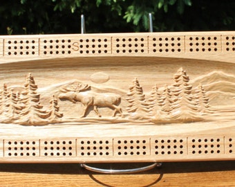 Outdoor Bear and Moose Scene Made From Solid White Ash