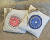 Pair of Lavender Sachets Made From Muslin, Felt Pennies, Small Doilies and Antique Pearl Buttons,  OFG, FAAP, Penny Rug, Handmade Sachets