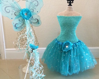 Fairy Dress, Fairy Costume, Fairy Wings, Teal Tutu, Princess Costume, Tinkerbell Tutu, Fairy Tutu, Princess Dress, Princess Party Favors