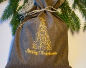 Medium size linen gift bags  dark gray linen  personalized whit Christmas tree