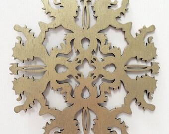 Holiday Lion Medieval Sigil Wood Cut Ornament