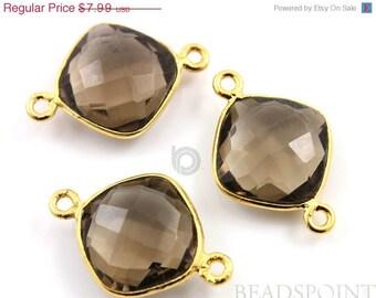 SALE Natural Smoky Quartz, Bezel Cushion Shape Gemstone Component,  Gold Vermeil, 13mm, 1 Piece, (BZC3032)