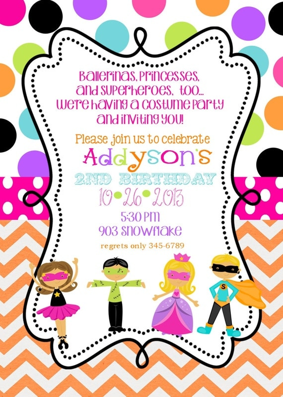 Costume Birthday party Invitations with envelopes Fall