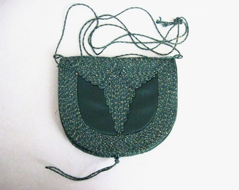 Vintage Evening Bag Green Gold Purse Embroidered Shoulder Bag Tassel
