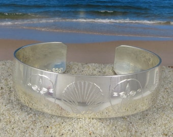 Sterling Silver Sea Shell Engraved Cuff