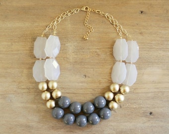 Gold and Gray Statement Necklace, Chunky Gray Bib Necklace, Double Strand, Gray Layered Necklace