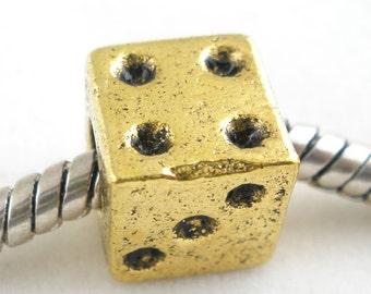 2 Pieces Gold Tone Dice European Beads