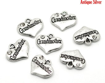 4 Pieces Antique Silver Rhinestone Heart Grandmother Charms