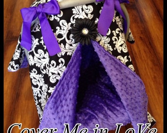 Black and white damask and purple minky Car seat canopy