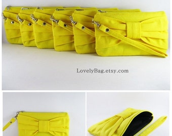 SUPER SALE - Set of 5 Yellow Bow Clutches - Bridal Clutches, Bridesmaid Clutches, Bridesmaid Wristlet, Wedding Gift - Made To Order