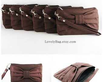 SUPER SALE - Set of 5 Wedding Clutches, Bridesmaids Clutches / Brown Bow Clutches - Made To Order