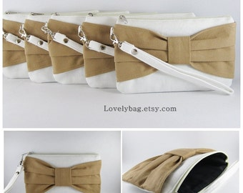 SUPER SALE - Set of 6 Wedding Clutches, Bridesmaids Clutches / Ivory with Tan Bow Clutches - Made To Order