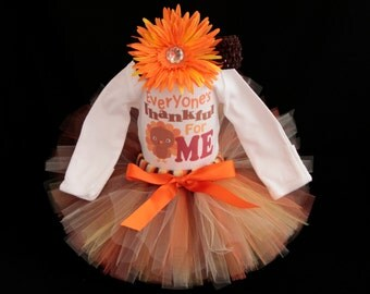 Baby's First Thanksgiving Outfit  -  Everyone's Thankful for Me Bodysuit - Baby Girls Outfit -  Bodysuit with Tutu - *TG1401