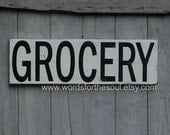 GROCERY Kitchen Pantry Rustic Sign Subway Art  Wooden Sign