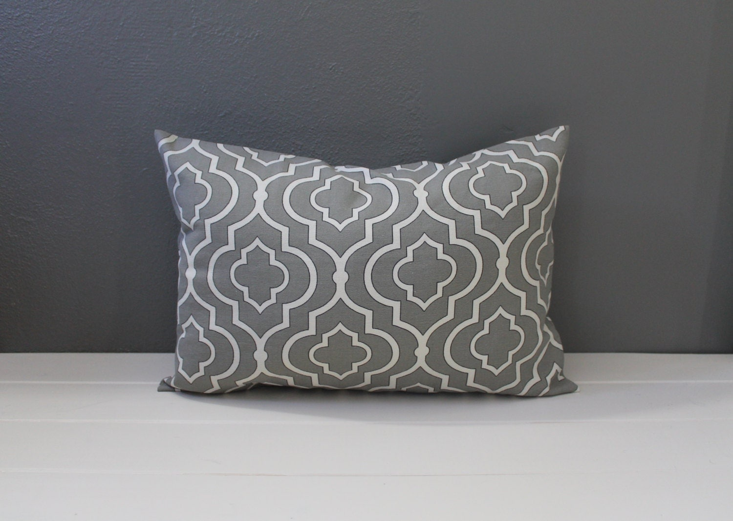 Modern Graphic Pillow : Modern Gray Graphic Pillow: Grey Moroccan by HabitatHandcrafted