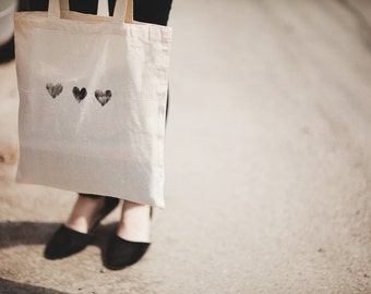 black heart cotton tote bag