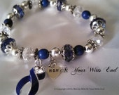 Colon Cancer Bracelet, Dark blue jewelry, awareness bracelets, blue, colon cancer, awareness jewelry, stretchy bracelets, blue ribbon, gifts
