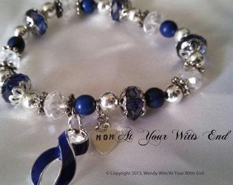 Colon Cancer Bracelet, Dark blue jewelry, awareness bracelets, blue, colon cancer, awareness jewelry, stretchy bracelets, blue ribbon, gifts