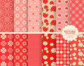 Red floral digital paper flower digital paper valentine backgrounds, rose backgrounds, valentine paper - INSTANT DOWNLOAD