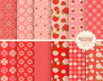 Red floral digital paper flower digital paper valentine backgrounds, rose backgrounds, valentine paper - INSTANT DOWNLOAD