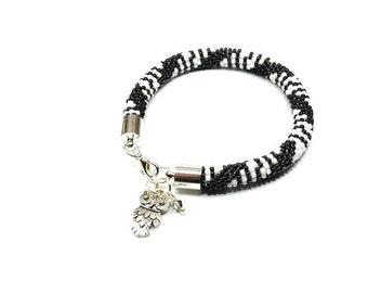 Beaded Bracelet. Toho Seed Beads Bracelet. Modern Bangle. Bead Crochet Bracelet. Black and White Bracelet. Oriental Bracelet.