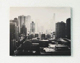 Chicago photography, mounted photograph, standout, black and white, Chicago skyline, Chicago wall art