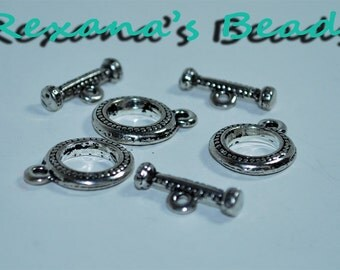 Silver Dot Design Toggle Clasps - Set of 3