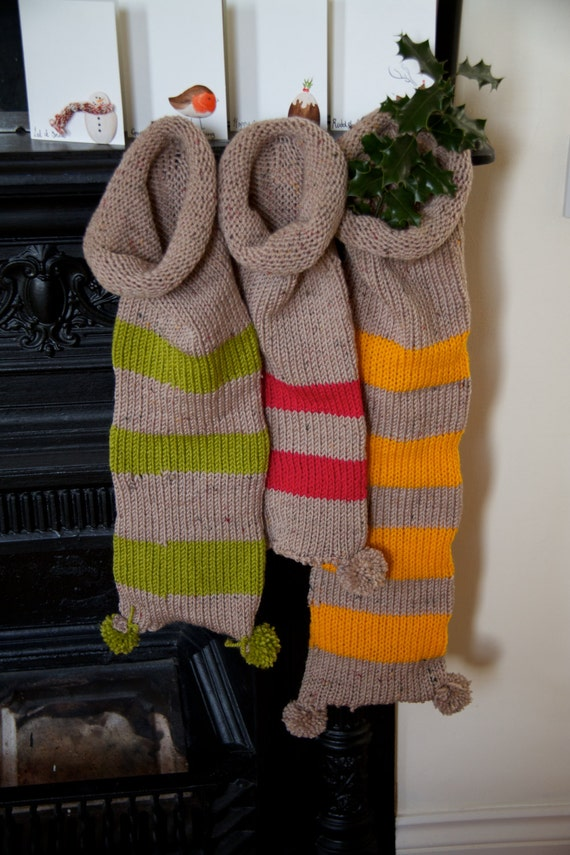 Hand Knitted Stripe Christmas Stocking A Beautifull Hand