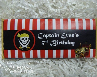 Pirate Candy Bar Wrappers - Chocolate Bar Favors - Birthday Party Favor - For Child Birthday, For Him Birthday