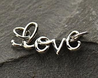 Love Sterling Silver Word Charm, Love Script Charm, Love Charm, Silver Love Charm, Love Cursive Charm