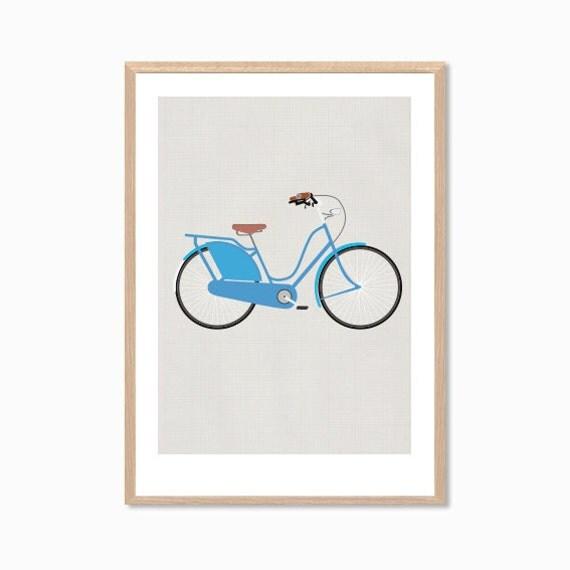 RETRO | Ride A Blue Bike Poster : Modern Bicycle Illustration Art Wall Decor Print
