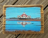 Color photo of the Lighthouse Hotel at Fagers Island transferred onto reclaimed Ocean City boardwalk wood