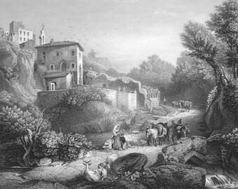 SAN MARINO Landscape View  - 1860s Vintage Antique Print