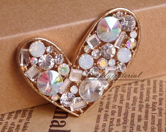 1PCS White AB Crystal Gem Heart-shaped Flatback Alloy jewelry Accessories materials supplies