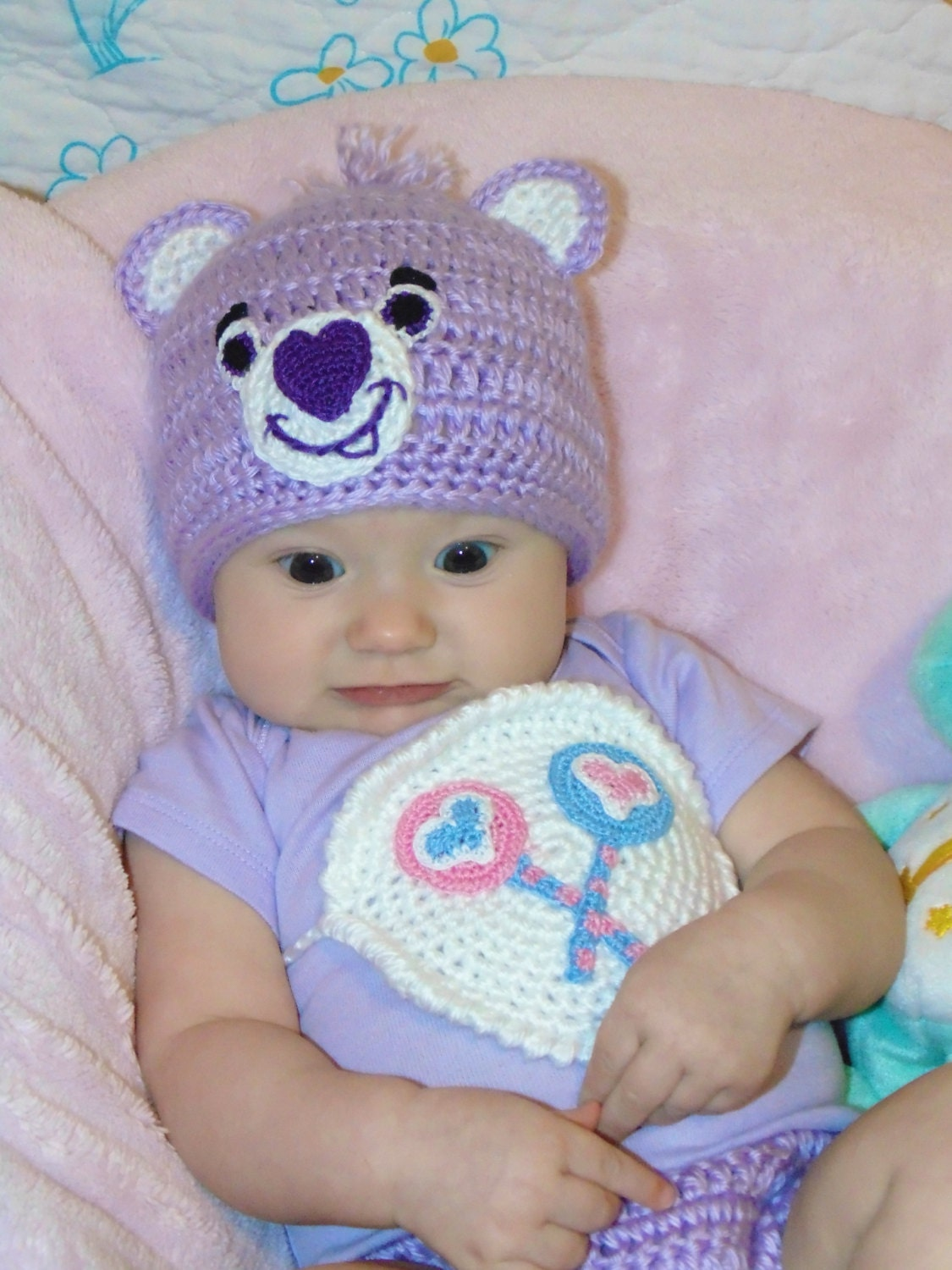 Crochet Purple Care Bear Costume Share Bear or Custom  sc 1 st  Dancox & Crochet Care Bear Hat Pattern ~ Dancox for .