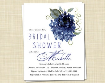 20 Bridal Shower Invitations, Romantic, Vintage Navy Hydrangea, 6 different colors, PRINTED
