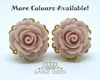 """Wood Rose Plugs / Gauges. 4g / 5mm, 2g / 6.5mm, 0g / 8mm, 00g / 10mm, 1/2"""" / 12mm, 9/16"""" / 14mm by Gauge Queen on Etsy"""