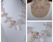 SALE Raw Quartz Crystal Necklace, Light AB Titanium Quartz Crystals with Rosewater Opal faceted beads